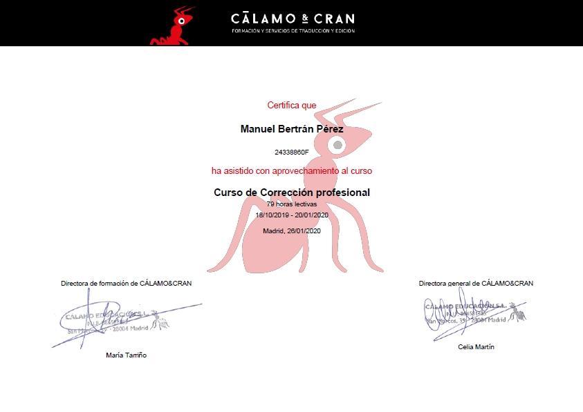 Certificado corrector de textos profesional
