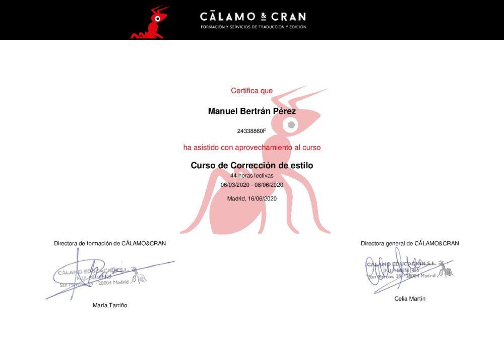Certificado Curso Corrección de Estilo